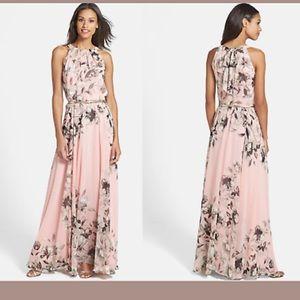Eliza J maxi chiffon belted gown